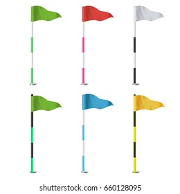 Golf Flags. Realistic Flags Of The Golf Course. Isolated