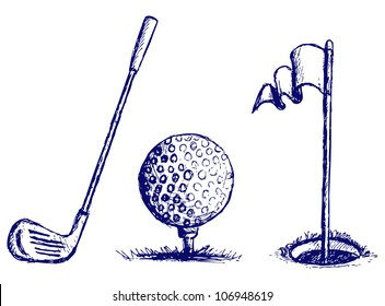 Golf icon set. Raster