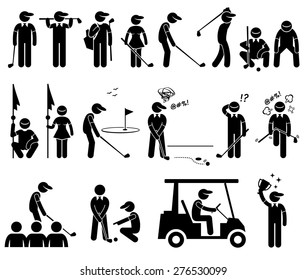 Golf Player Actions Poses Stick Figure Pictogram Icons