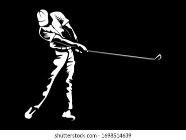 Golf player. Golf cap. Abstract isolated  silhouette. Iink drawing golf player.