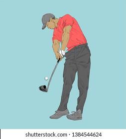 golf swing illustration sport drawing