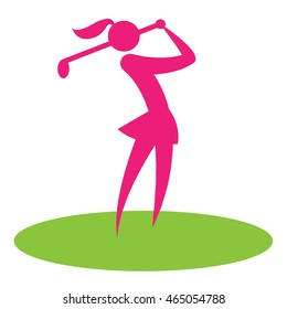 Golf Swing Woman Representing Hobby Golf-Club And Game