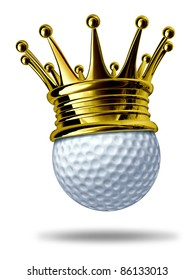 Golf tournament champion symbol represented by a white golf ball wearing a gold crown showing the concept of golfing sports competition winning and golf course  game activity.