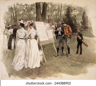 A golf tournament at the Chevy Chase Club, 1902. Watercolor by William Thomas Smedley (1858-1920).