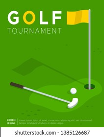 Golf tournament flat promo poster or invitation flyer template. Putter golf club and ball lying on field lawn near flag in hole. Sport competition, international cup advertising leaflet design