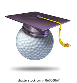 Golf training school by professionals for learning the skills of the sport with a mortar hat or graduation cap on a ball showing the certification of a student for the completion of the course.