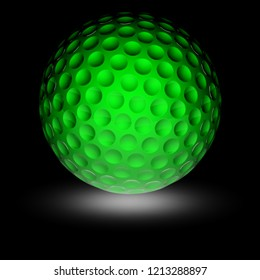 Golfball in the black background. 3D Illustration.