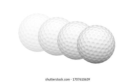 Golfball auf weißer Oberfläche. 3D-Illustration.