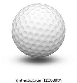 Golfball in white background. 3D Illustration.