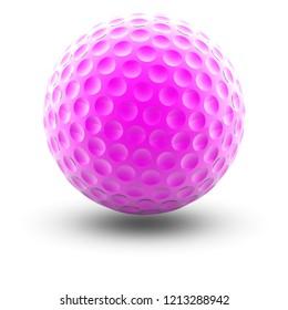 Golfball in white background. 3D Illustration.