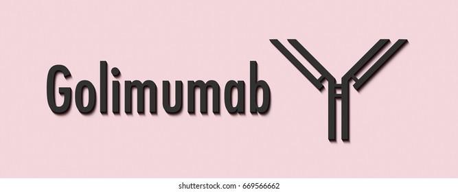 Golimumab monoclonal antibody drug. Targets TNF-alpha. Indications include rheumatoid arthritis, psoriatic arthritis, ankylosing spondylitis and ulcerative colitis. Generic name and stylized antibody.