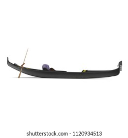 Gondola Boat on white. Side view. 3D illustration