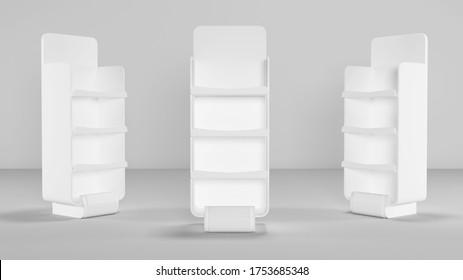 Gondola end for supermarket product display shelf. 3d Illustration.