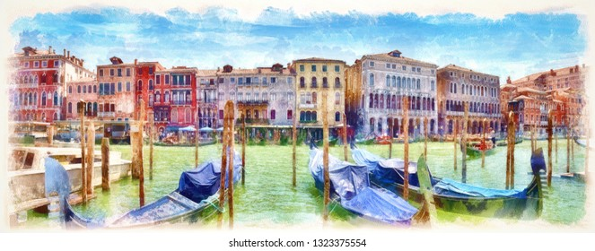 Gondolas on the Grand Canal, digital imitation of watercolor painting. Colorful facades of old medieval houses in Venice, Italy.