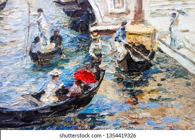 Gondolas on the Venetian canal with gondoliers and people, sitting under the bright summer umbrellas. Old Venice, Italy. Impressionistic manner of oil painting