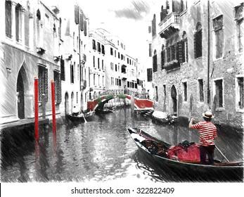 Gondolas on Venice. Digital illustration in draw, sketch style.