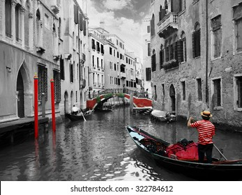 Gondolas on Venice in oil painting style