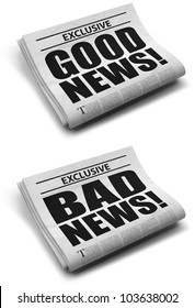 Good and bad news front cover newspaper