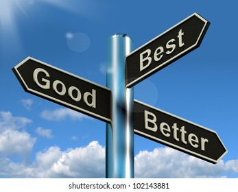 Good Better Best Signpost Representing Ratings And Improvements