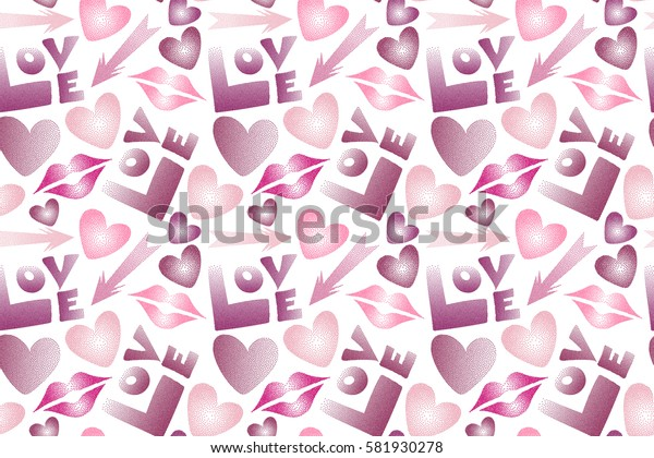 Good for cards, posters, wrapping paper. Hand drawn raster seamless pattern with XOXO in purple, magenta and pink colors. Hipster symbols of arrow, hearts, kissing lips, love text on a white.