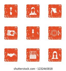 Good deed icons set. Grunge set of 9 good deed icons for web isolated on white background