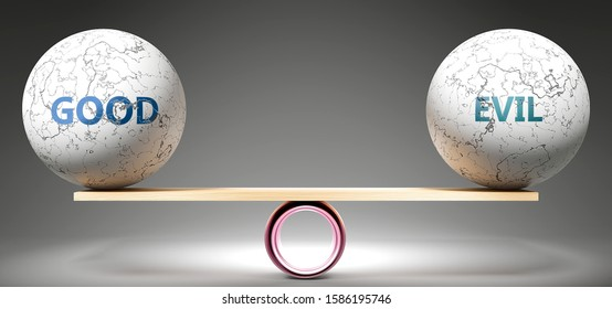 Good and evil in balance - pictured as balanced balls on scale that symbolize harmony and equity between Good and evil that is good and beneficial., 3d illustration