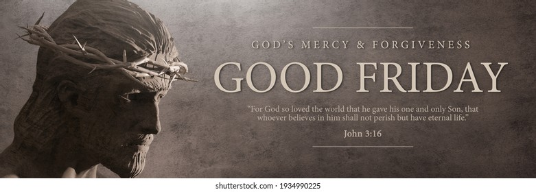 Good Friday Banner Design Jesus Christ with Crown of Thorns Statue 3D Rendering