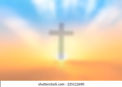 Good Friday concept: Blur the Cross on sunset sky background