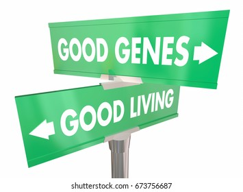 Good Genes Living Street Road Signs Longevity 3d Illustration