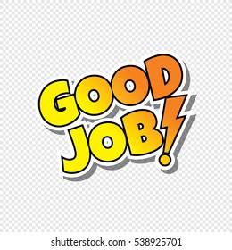good job cartoon text sticker theme