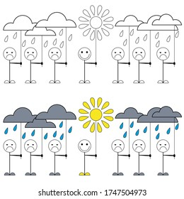 Good mood. Illustration of little men with sad faces and one happy. A drawing that shows how important it is to have a positive attitude.