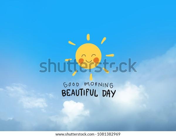 Guten Morgen Schönes Tageswort Und Süße Stockillustration