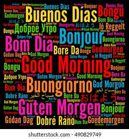 Good morning in different languages word cloud. '