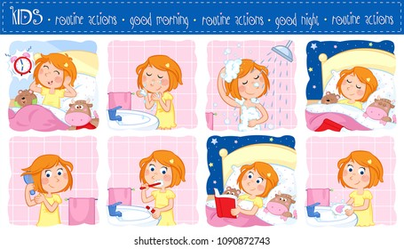 Good morning and good night - Daily routine actions of a little girl with ginger hair - Set of eight adorable cartoon illustrations