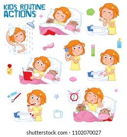 Good morning and good night - Daily routine actions of a lovely little girl with ginger hair - Set of eight cute illustrations isolated on the white background