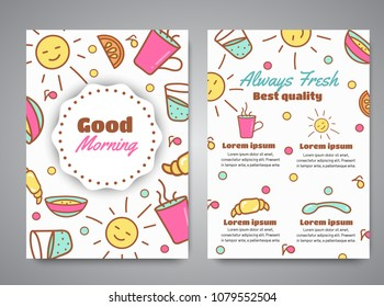 Good Morning slogan on brochure. Breakfast menu for cafe illustration. Always fresh text. Cafe, bakery concept. Coffeee and tea time.