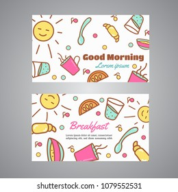 Good Morning text. Breakfast slogan. Cafe, bakery concept business card. Coffeee and tea design Line icons