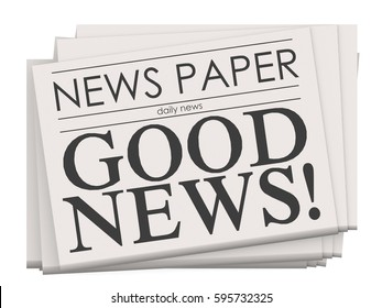 Good news on newspaper isolated, 3d rendering
