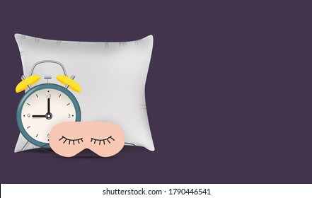 Good Night Abstract Background with Funny Sleeping Mask.  Illustration