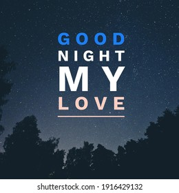 good night my love text image 3d illustration