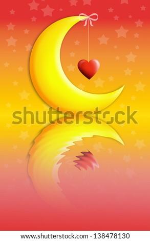 Good Night Sweet Dreams Moon Heart Stock Illustration 138478130