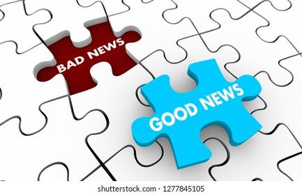 Good Vs Bad News Words Puzzle Piece Hole 3d Illustration