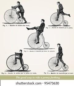 """The good way to ride a penny farthing  - vintage engraved illustration - """"Dictionnaire encyclopédique universel illustré"""" By Jules Trousset - 1886/1891 Paris"""