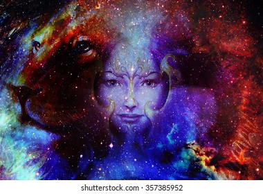Goodnes woman and lion in space with galaxi and stars. profile portrait, eye contact