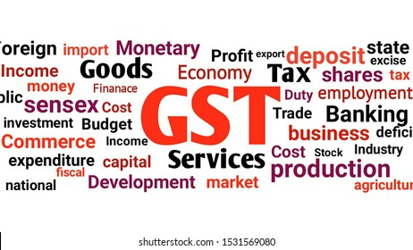 Goods and services tax (GST) concept with financial element and word, GST word cloud concept
