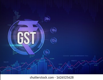 Goods and Services Tax India, GST  with Indian rupee symbol, abstract background with GST tax slabs illustration, GST finance background, Indian rupee background, rupee currency