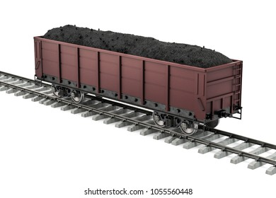 Goods wagon on the railway with coal, 3D rendering isolated on white background