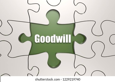 Goodwill word on jigsaw puzzle, 3D rendering