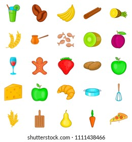 Goody icons set. Cartoon set of 25 goody icons for web isolated on white background