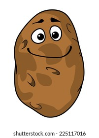 Goofy cartoon farm fresh potato with a silly grin and squinting eyes isolated on white